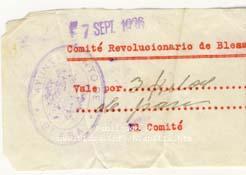 Vale por 3 kilos de pan. El comité revolucionario de Blesa. septiembre 1936
