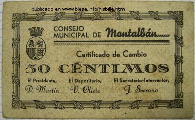 Montalbán (Teruel, España) Billete local durante la guerra civil de 1936