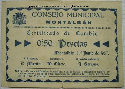 Montalbán (Teruel) Moneda divisionaria durante la guerra civil de 1936