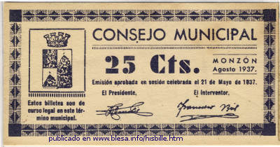 Monzón, billete