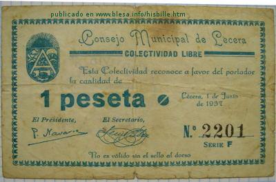 Lécera. Billete local durante la guerra civil de 1936