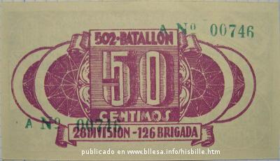 Billete de uso en una brigada. Guerra civil española