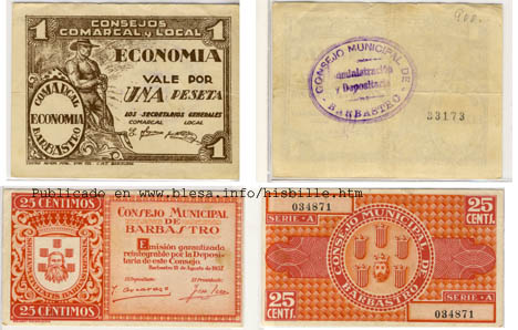 Basbastro(Huesca) Moneda divisionaria durante la guerra civil de 1936