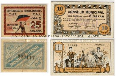 Binefar (Huesca) Moneda divisionaria durante la guerra civil de 1936