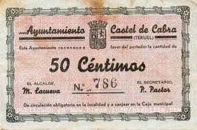 Castel de Cabra (Teruel) Moneda divisionaria durante la guerra civil de 1936