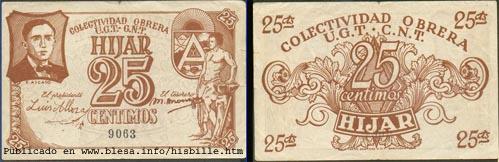 Híjar (Teruel) Moneda divisionaria durante la guerra civil de 1936