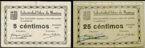 Muniesa (Teruel) Moneda divisionaria durante la guerra civil de 1936