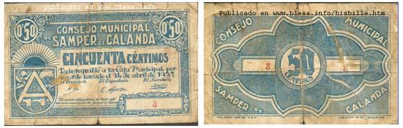 Samper de Calanda (Teruel) Moneda divisionaria durante la guerra civil de 1936