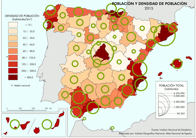 Densidad de población en España. 2015. I.N.E.