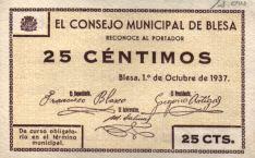 Anverso del billete local de 25 céntimos de Blesa