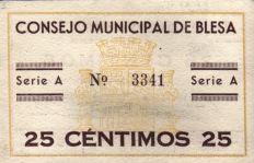 Reverso del billete de 25 céntimos de Blesa