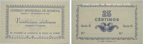 Moneva (Zaragoza) Moneda divisionaria durante la guerra civil de 1936