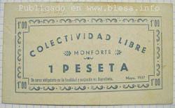 Monforte (Teruel) Billete local durante la guerra civil de 1936