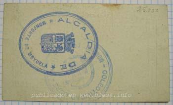Monforte (Teruel) Moneda divisionaria durante la guerra civil de 1936