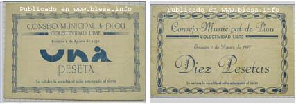 Plou (Teruel) Moneda divisionaria durante la guerra civil de 1936