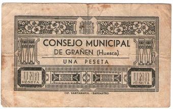 billete de Grañén impreso en Barbastro (H)