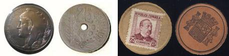Arriba moneda y sellos-moneda emitidos durante la guerra civil de 1936, por la República. Abajo los emitidos antes de la guerra.