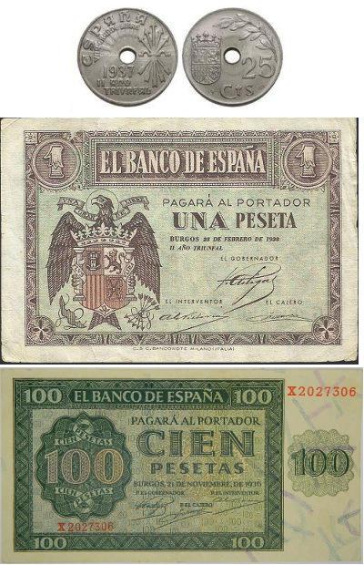 Monedas y billetes emitidos durante la guerra civil de 1936, por el ejército sublevado