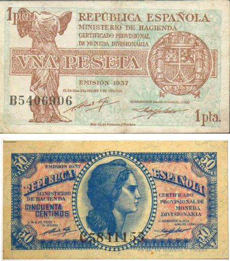 Billetes emitidos durante la 2ª República Española